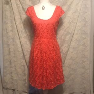 Adrianna Pappell tangerine floral lace dress